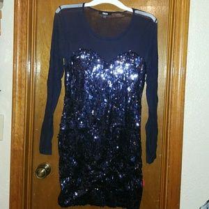 Dresses & Skirts - Navy Mesh Sparkle Dress